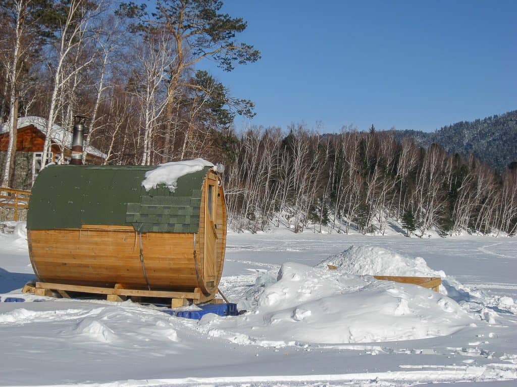 a sauna at lake Baikal, north of Mongolia, during winter